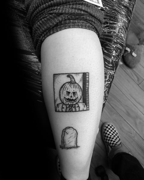 Awesome The Office Dwight Pumpkin Head Tattoos For Men