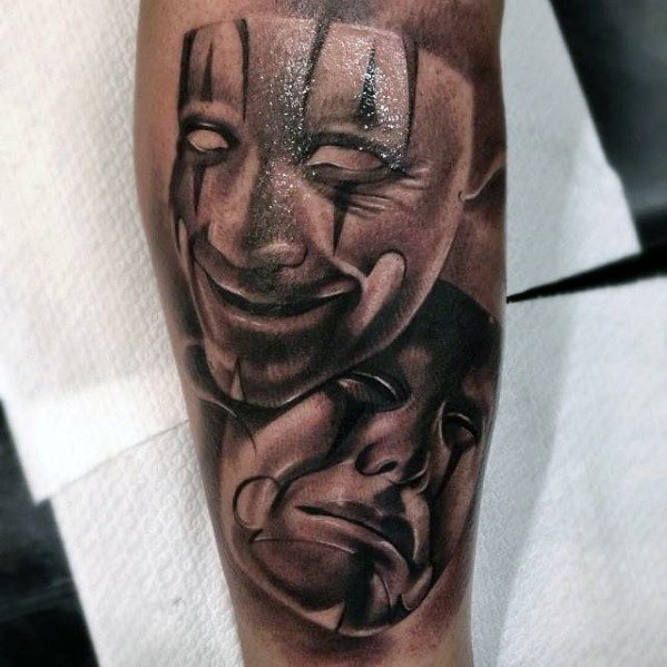 Awesome Theatre Leg Drama Mask Tattoos For Men