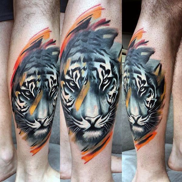 Awesome Tiger Mens Watercolor Leg Calf Tattoo