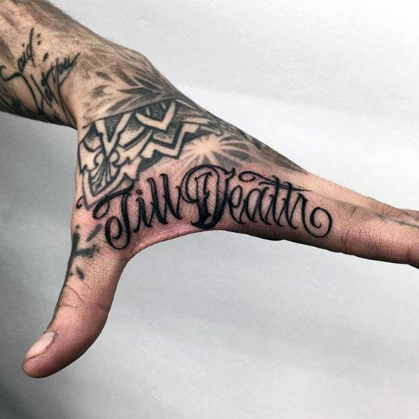 Awesome Till Death Side Hand Tattoos For Men