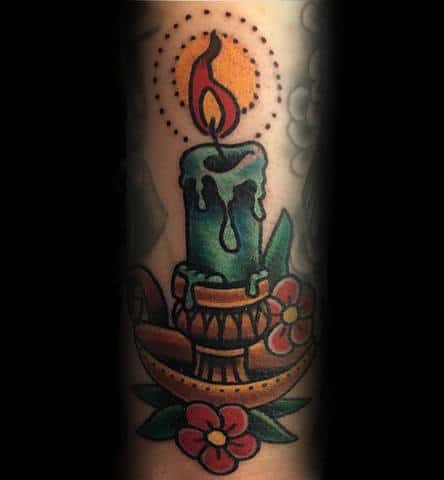 Awesome Traditional Candle Tattoo Design Ideas For Guys