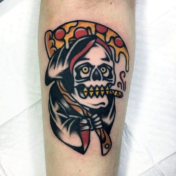 Awesome Traditional Grim Reaper Pizza Tattoos For Men