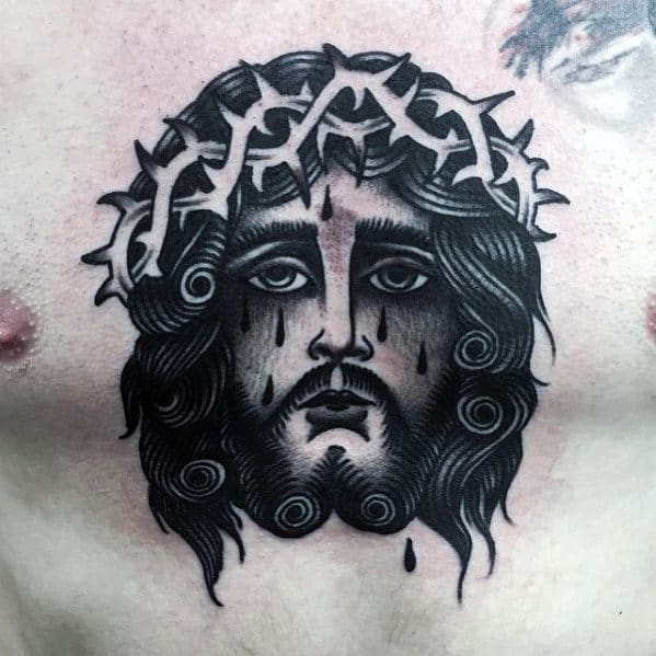 Awesome Traditional Jesus Face Mens Chest Tattoo