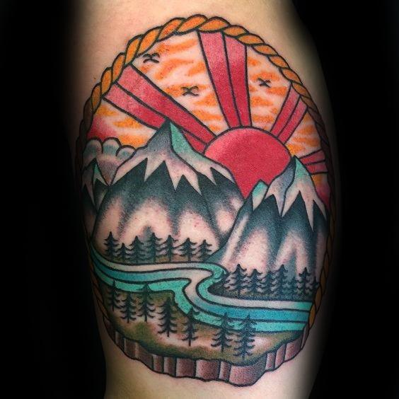 Awesome Traditional Mountain Tattoos For Men