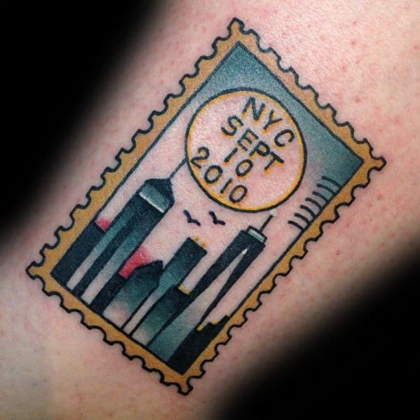 Awesome Traditional Old School New York City Small Forearm Postage Stamp Tattoos For Men