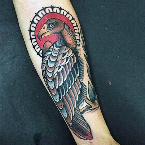 Awesome Traditional Vulture Bird Mens Forearm Tattoos