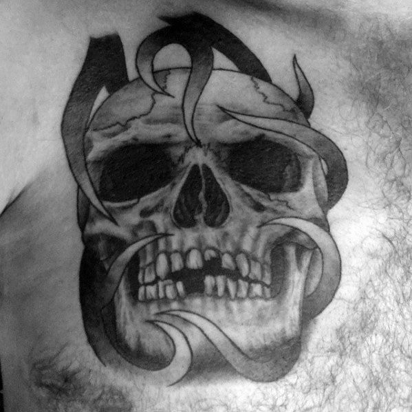 Awesome Tribal Chest Skull Tattoos For Men