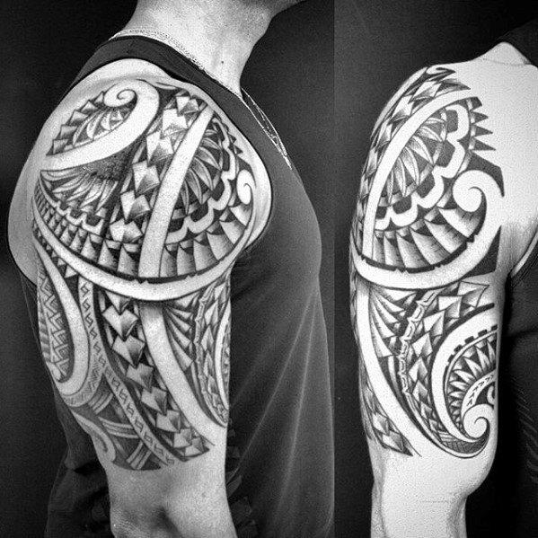 Awesome Tribal Hawaiian Half Sleeve Mens Tattoo Ideas