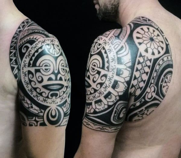 Awesome Tribal Male Shoulder Tattoo Idea Inspiration
