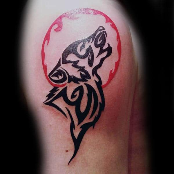 Awesome Tribal Wolf Howling At Red Ink Moon Tattoos For Men