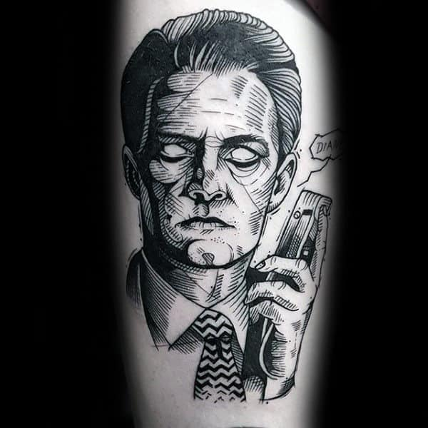 Awesome Twin Peaks Thigh Tattoos For Guys