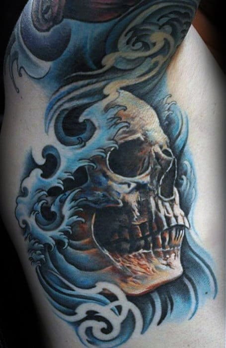 Awesome Under Arm Mens Rib Cage Side Japanese Skull Water Tattoo