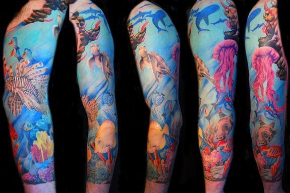 Awesome Under Water Life And Jellyfish Tattoo Male Full Sleeves