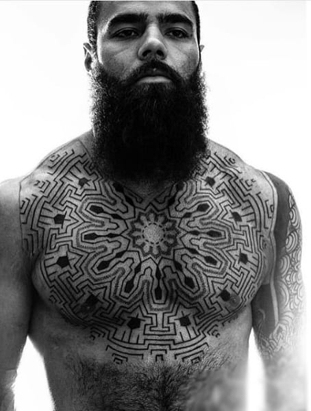 Awesome Unique Guys Upper Chest Tattoo Ideas