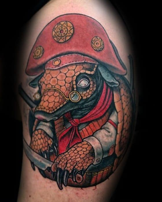 Awesome Uper Arm Pirate Themed Armadillo Tattoos For Men