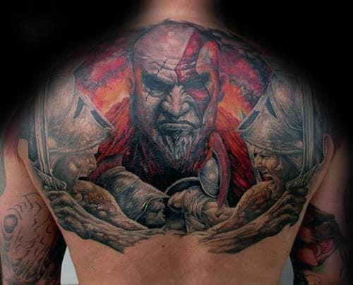 Awesome Upper Back Guys Kratos God Of War Tattoo Design Ideas