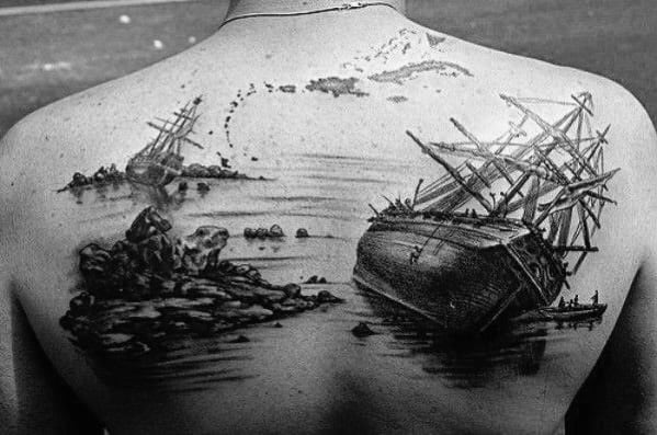 Awesome Upper Back Shipwreck Tattoos For Men