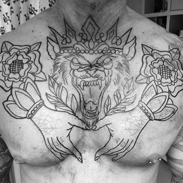 Awesome Upper Chest Outline Tattoos For Men