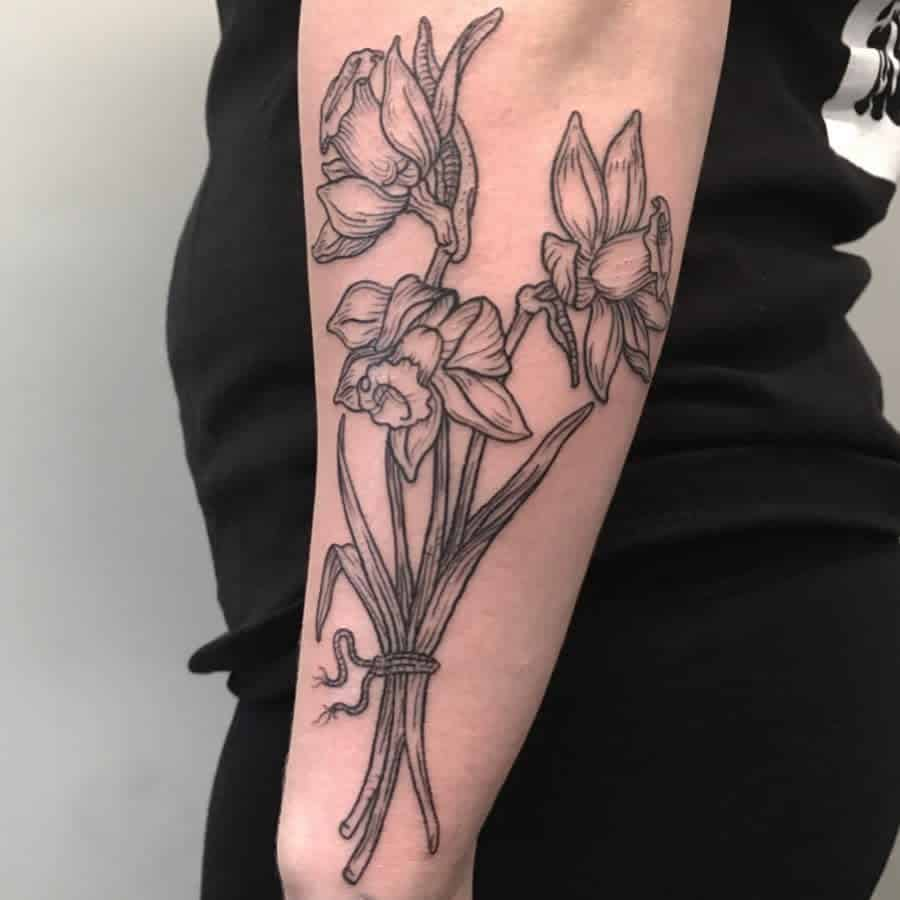Awesome Use Of Versatile Lines Large Bunch Of Daffodils Linework Tattoo