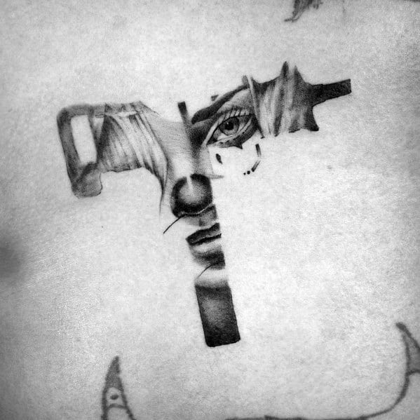 Awesome Uzi Tattoos For Men Portrait Themed