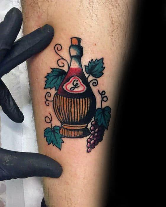 Awesome Vintage Wine Bottle Inner Forearm Tattoos For Men