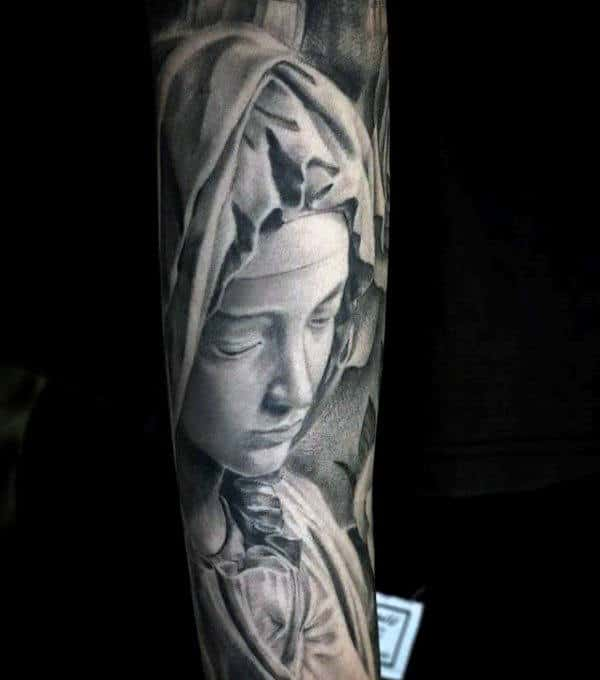 Awesome Virgin Mary Forearm Sleeve Tattoo On Male