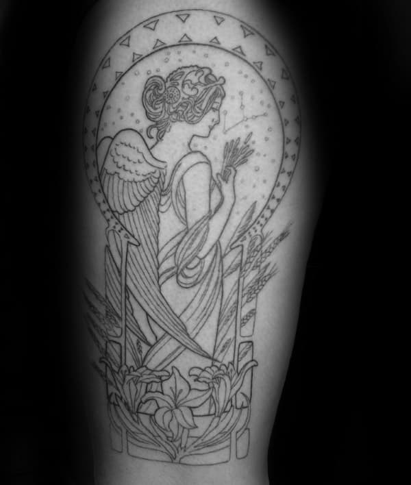 Awesome Virgo Madien Mens Upper Arm Tattoo