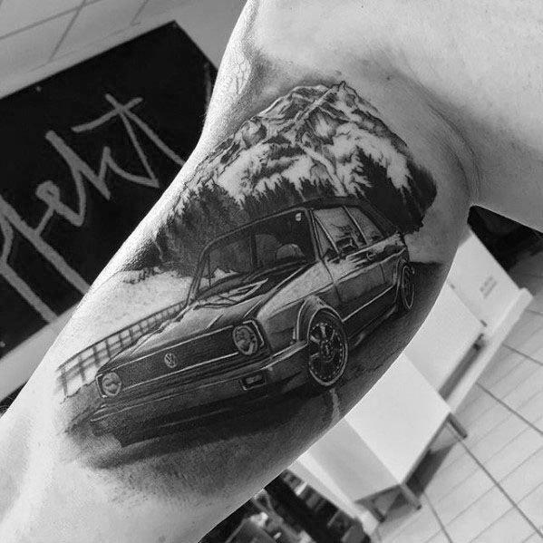 Awesome Volkswagen Wv Tattoos For Men On Inner Arm Bicep
