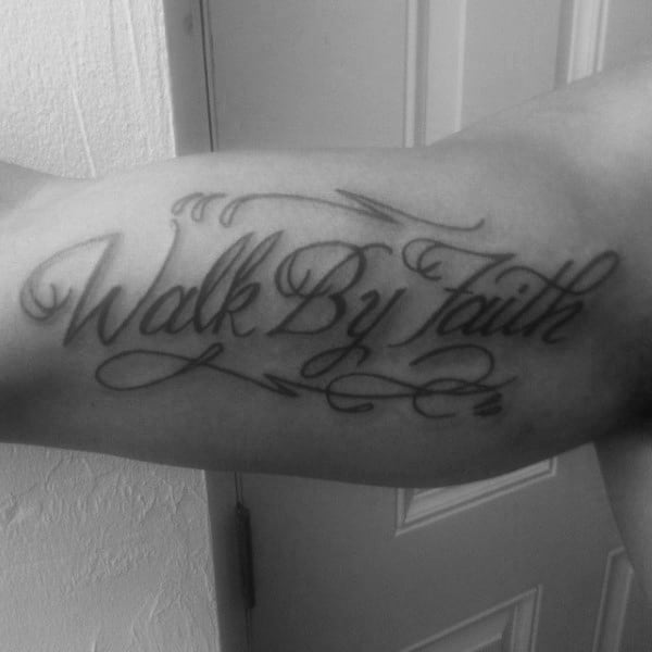 Awesome Walk By Faith Not By Sight Tattoos For Men