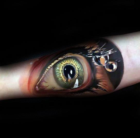 Awesome Water Tear Drop Forearm 3d Hyper Realistic Tattoos For Men