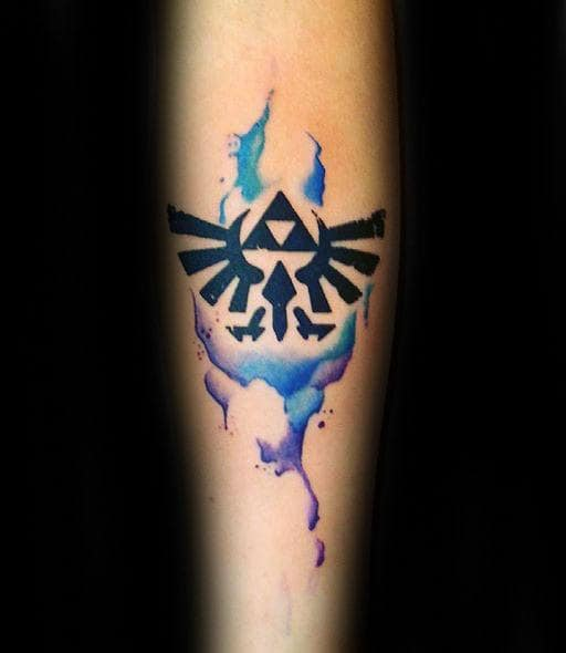 Awesome Watercolor Black Ink Triforce Male Inner Forear Tattoo Design Ideas