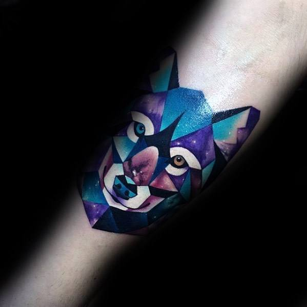 Awesome Watercolor Geometric Sick Wolf Inner Forearm Tattoos For Men