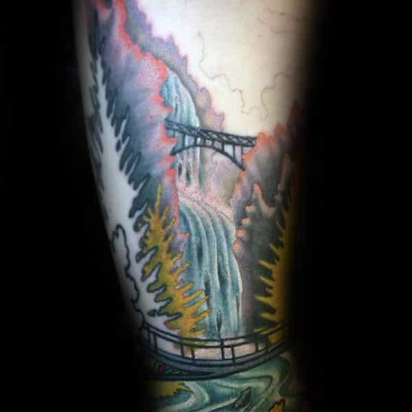 Awesome Watercolor Waterfall Male Arm Tattoos