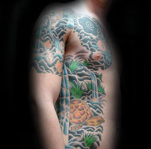 Awesome Waterfall Japanese Mens Chest And Ribs Tattoo