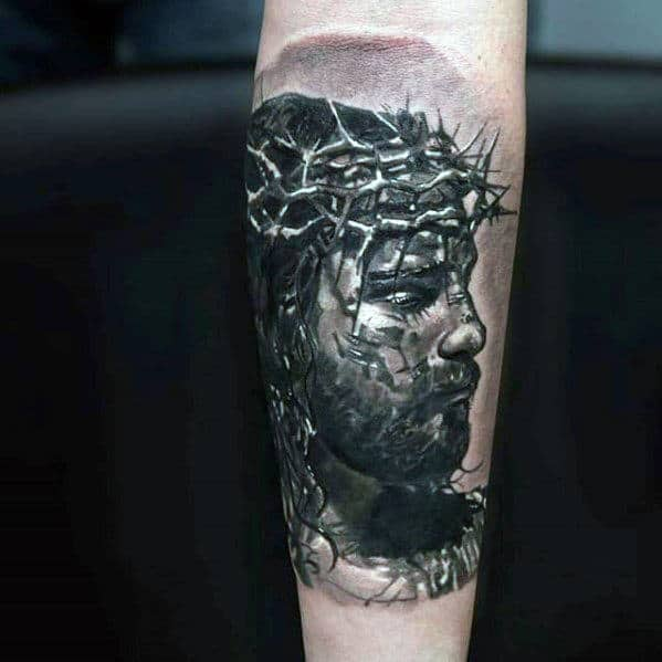 Awesome White And Grey Shaded Jesus Outer Forearm Tattoos For Men