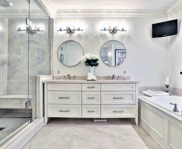 Top 60 Best White Bathroom Ideas - Home Interior Designs on White Bathroom Design Ideas  id=44542