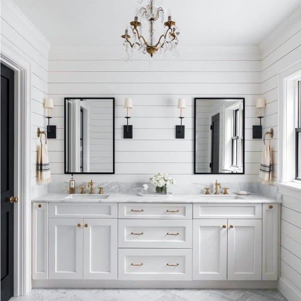 Top 50 best shiplap wall ideas wooden board interiors - White bathroom ideas photo gallery ...