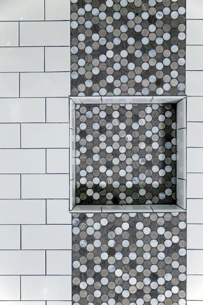 Awesome White Subway Tile Shower Ideas With Mosiac Grey Recessed Shelf