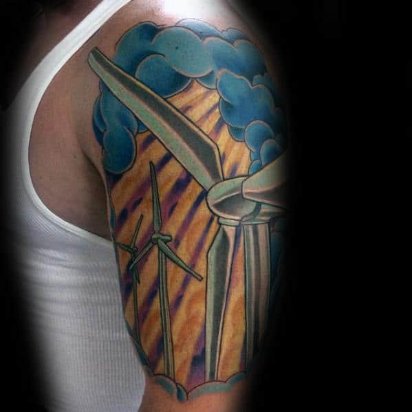 Awesome Windmill Guys 3d Half Sleeve Tattoo