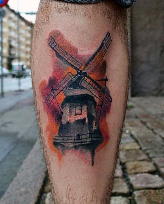 Awesome Windmill Watercolor Mens Back Of Leg Tattoo
