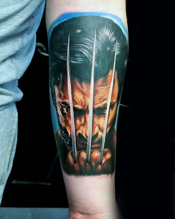 Awesome Wolverine Hames Howlett Portrait Male Inner Forearm Tattoo Designs