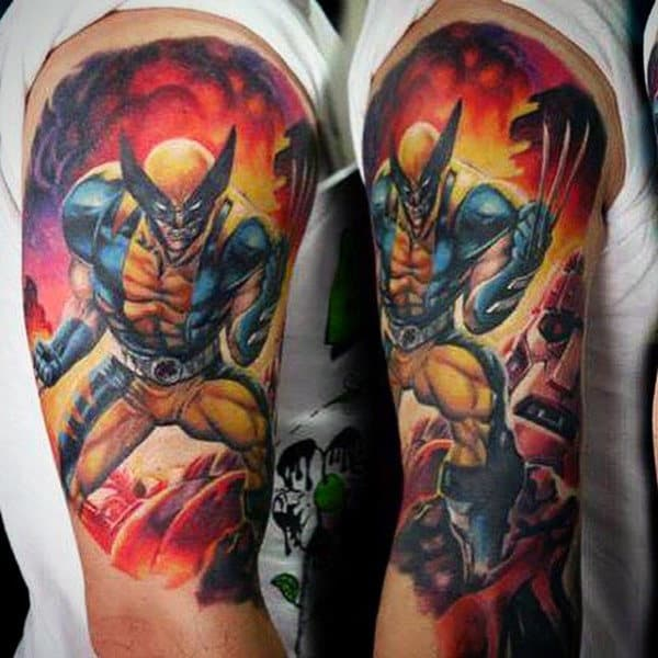 Awesome Wolverine Movie Scene Guys Half Sleeve Tattoos