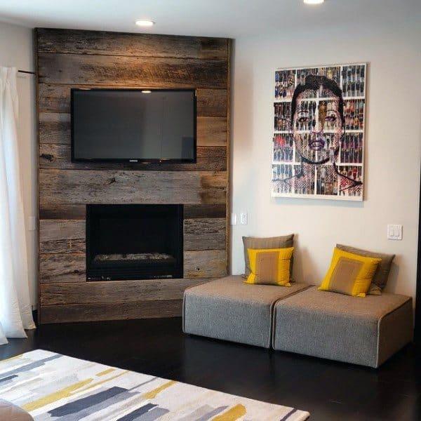 Awesome Wood Panel Wall Corner Fireplace Design