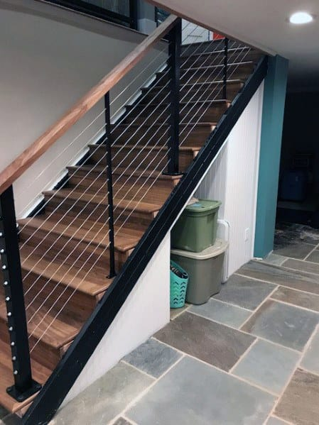 Awesome Wood With Steel Wire Rail Basement Stairs Ideas