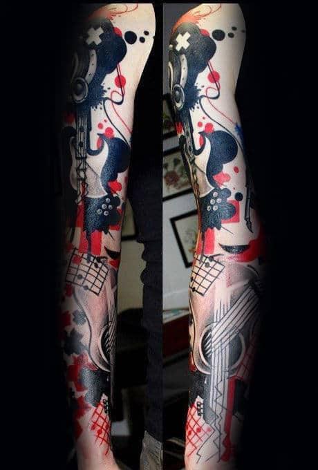 Awsome Male Music Sleeve Trash Polka Full Arm Tattoos