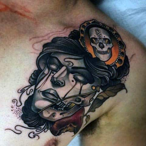 Awsome Neo Traditional Face Art Tattoo Males Chest