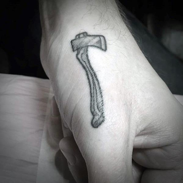 Axe Masculine Guys Small Hand Tattoos