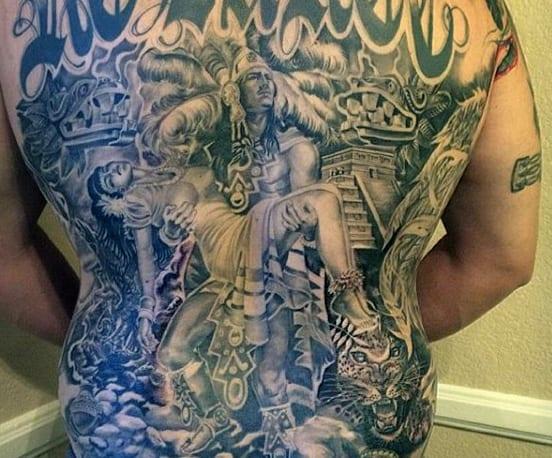 Aztec Back Tattoo Mens