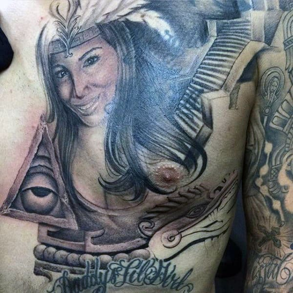 Aztec Chest And Arm Tattoo For Men