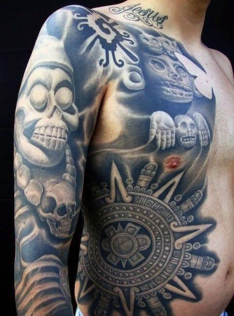 Aztec God Of Death Tattoo For Men
